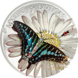 Equatorial Guinea 2015 Exotic Butterflies - Graphium policenes in 3D Proof Silver Coin 25 g_45279