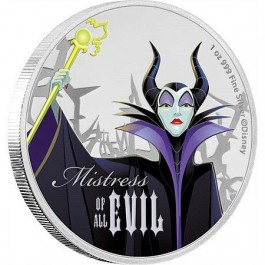 Niue 2018 Disney Villains - Maleficent Coloured Proof Silver Coin 1 oz