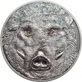 Mongolia 2018 Wild Boar Crystal Antiqued Silver Coin 1oz
