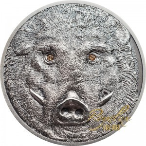Mongolia 2018 Wild Boar Crystal Antiqued Silver Coin 1oz_45277