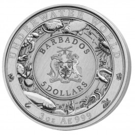 Barbados 2018 The Great White Shark Coloured Ultra High Relief Antiqued Silver Coin 3 oz
