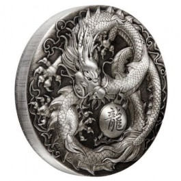 Tuvalu 2018 Dragon Antiqued Silver Coin 5 oz