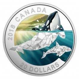 Canada 2018 Geometric Fauna: Orcas Colored Proof Coin 1oz