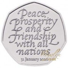 Great Britain 2020 Withdrawal From The European Union 50 Pence Proof Cupro Nickel Coin 8g