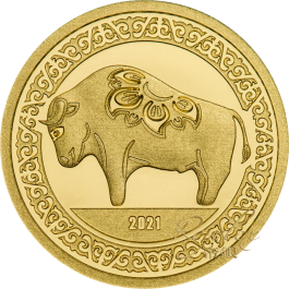 Mongolia 2021 Year of the Ox Proof Gold Coin 0.5g