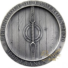 Cameroon 2020 Viking Axeman Antique silver coin 3 oz